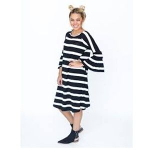 Agnes and Dora striped dress with bell sleeve